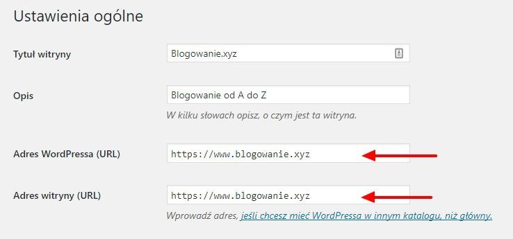 Ustawienia adresów w WordPress na https