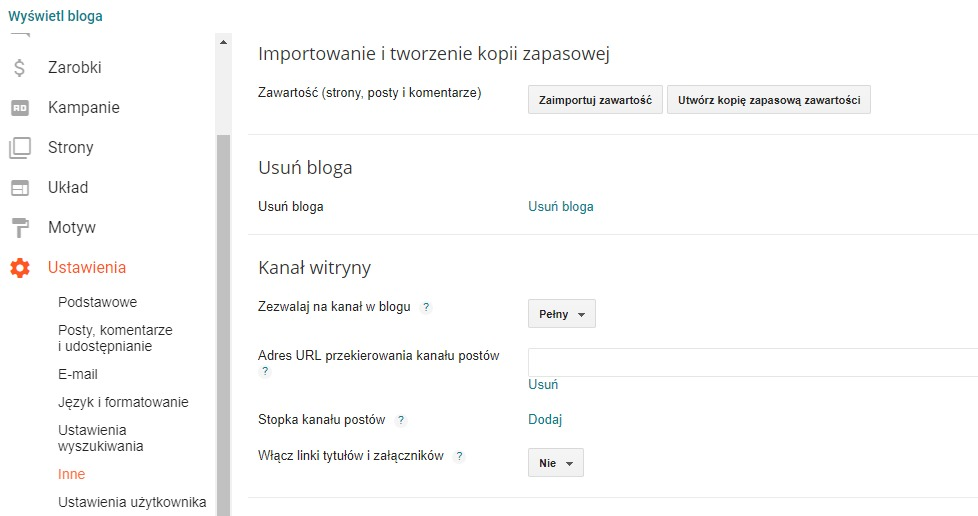 Import danych do Bloggera